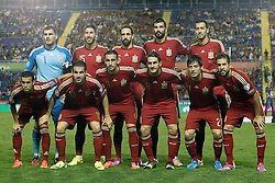 08.09.2014, Estadi Ciutat de Valencia, Valencia, ESP, UEFA Euro 2016 Qualifikation, Spanien vs Mazedonien, Gruppe C, im Bild Spain's team photo with Iker Casillas, Sergio Ramos, Juanfran Torres, Raul Albiol, Sergio Busquets, Pedro Rodriguez, Cesc Fabregas, Paco Alcacer, Koke, David Jimenez Silva and Jordi Alba // during the UEFA EURO 2016 Qualifier group D match between Spain and Macedonia at the Estadi Ciutat de Valencia in Valencia, Spain on 2014/09/08. <br /> <br /> *** NETHERLANDS ONLY ***