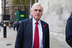 © Licensed to London News Pictures. 06/11/2018. London, UK. Shadow Chancellor of the Exchequer John McDonnell arrives for a Service at St Margaret's Church, Westminster to mark the Centenary of the end of the First World War. Parliamentarians from the House of Commons and House of Lords gathered to remember the sacrifices of those parliamentarians, parliamentary officers and staff who gave their lives during the First World War, or who were injured. Photo credit : Tom Nicholson/LNP