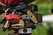 Love Padlocks at the Love Bridge. Prague, Czech Republic.