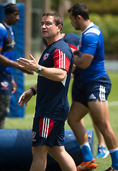 April 3, 2018 - Hong Kong, Hong Kong SAR, CHINA - HONG KONG,HONG KONG SAR,CHINA:April 3rd 2018. The USA Rugby team conduct a training session at So Kon Po recreation ground ahead of their Hong Kong Rugby 7's matches. Mike Friday USA coach (Credit Image: © Jayne Russell via ZUMA Wire)