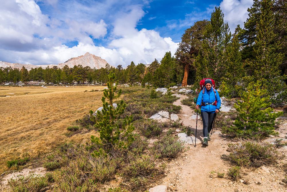 Backpacker in the Cottonwood Lakes Basin, John Muir Wilderness, California USA
