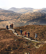 Walkers on Torc Mountain in Killarney National Park a popular hiking route. The Park is featured to benefit under the new National Development Plan.<br /> Picture by Don MacMonagle <br /> WALKING FEATURE