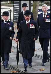 November 13, 2016 - London, United Kingdom - Image ¬©Licensed to i-Images Picture Agency. 13/11/2016. London, United Kingdom. Prince Charles Remembrance Sunday. ..The Prince of Wales arrives at the Guards' Chapel in Wellington Barracks, London for a service and to lay a wreath at the Guards' Memorial for the Welsh Guards' Regimental Remembrance Sunday...Picture by i-Images / Pool (Credit Image: © i-Images via ZUMA Wire)