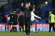 Phil Parkinson, the Bolton Wanderers manager applauding the fans after full time. Emirates FA Cup 3rd round replay match, Crystal Palace v Bolton Wanderers at Selhurst Park in London on Tuesday 17th January 2017.<br /> pic by John Patrick Fletcher, Andrew Orchard sports photography.