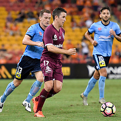 BRISBANE, AUSTRALIA - FEBRUARY 3: Matt McKay of the Roar dribbles the ball during the round 18 Hyundai A-League match between the Brisbane Roar and Sydney FC at Suncorp Stadium on February 3, 2017 in Brisbane, Australia. (Photo by Patrick Kearney/Brisbane Roar)