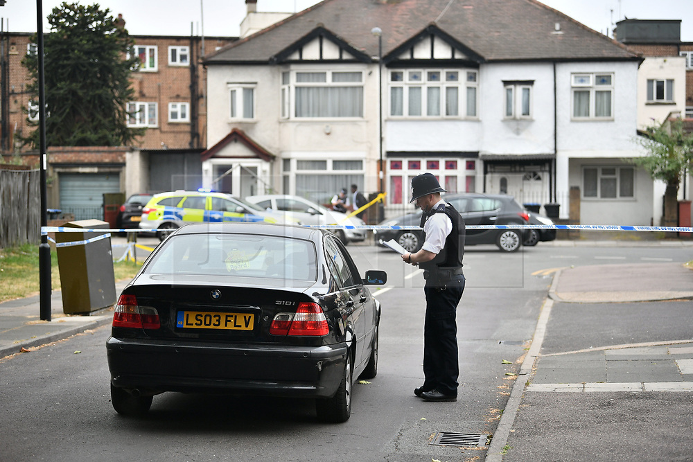 © Licensed to London News Pictures. 28/06/2018. London, UK. The scene where a 20 year old man was stabbed to death yesterday evening in Edmonton, North London. Police were called to reports of a row between men armed with baseball bats on Wednesday evening. Photo credit: Ben Cawthra/LNP