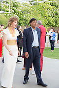JULIA PEYTON-JONES; LAKSHMI MITTAL, The Serpentine Summer Party 2013 hosted by Julia Peyton-Jones and L'Wren Scott.  Pavion designed by Japanese architect Sou Fujimoto. Serpentine Gallery. 26 June 2013. ,