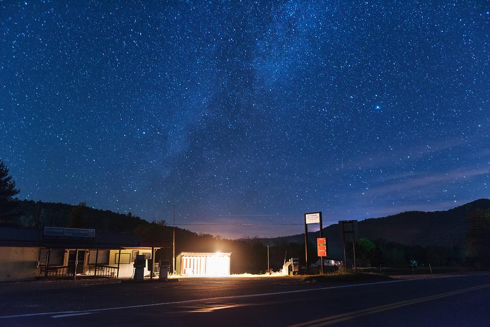 Starry sky over Dunmore Country Mart. Pocahontas County, West Virginia.