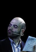 """Roberto Saviano interpreta """"In media res"""", storie di informazione indipendente, durante il Festival delle Letterature alla Basilica di Massenzio<br /> Roma - 3 luglio 2013. Matteo Ciambelli / OneShot"""