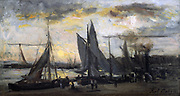 Return of the Fishing Fleet': oil on panel. Karl Daubigny (1846-1886) French artist.  Fishing vessels at the quay, people on quayside crowding round