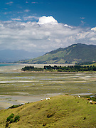 Looking south from a hill near Puponga, New Zealand.