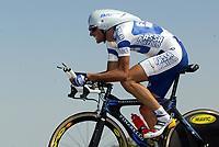 Sykkel<br /> Tour de France 2003<br /> Foto: Digitalsport<br /> <br /> NORWAY ONLY<br /> <br /> CYCLING - TOUR DE FRANCE 2003 - STEP12 -INDIVIDUAL TIME TRIAL -  GAILLAC > CAP'DECOUVERTE - 18072003 - PHOTO: JULIEN CROSNIER / DPPI<br /> IVAN BASSO (ITA) / FASSA BORTOLO