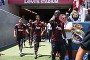 Manchester United Midfielder Jesse Lingard, Manchester United Forward Marcus Rashford and Manchester United Defender Eric Bailly walk to the pitch during the AON Tour 2017 match between Real Madrid and Manchester United at the Levi's Stadium, Santa Clara, USA on 23 July 2017.