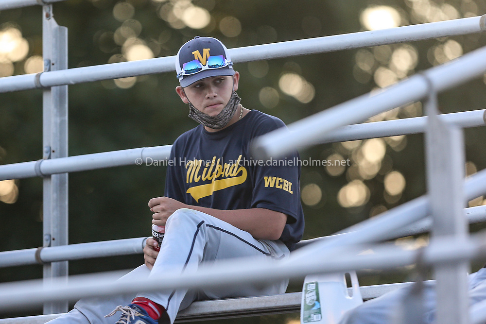 Milford's Sean Ryan in the stands during the American Legion baseball game against Cherry Valley at Fino Field, on Jul. 29, 2020. [Daily News and Wicked Local Photo/Dan Holmes]
