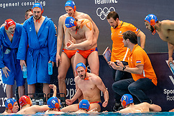 Yell team Netherlands against Montenegro during the Olympic qualifying tournament. The Dutch water polo players are on the hunt for a starting ticket for the Olympic Games on February 19, 2021 in Rotterdam