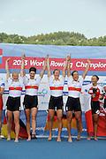 Chungju, South Korea.  Final Women's Quadruple Sculls Medel presentation, awards dock. 2013 FISA World Rowing Championships, Tangeum Lake International Regatta Course.16:45:23  Saturday  31/08/2013 [Mandatory Credit. Peter Spurrier/Intersport Images]<br /> <br /> 1GER W4X, Annekatrin THIELE (b) , Carina BAER (2) , Julia RICHTER (3) , Britta OPPELT (s)<br /> <br /> 2CAN W4X,Emily CAMERON (b) , Katharine GOODFELLOW (2) , Carling ZEEMAN (3) , Antje VON SEYDLITZ-KURZBACH (s)<br /> <br /> 3POLW4X Sylwia LEWANDOWSKA (b) , Joanna LESZCZYNSKA (2) , Magdalena FULARCZYK (3) , Natalia MADAJ