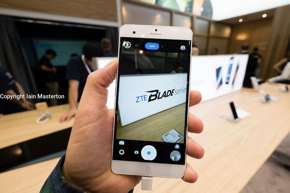 ZTE Blade smart phone on display at 2016  IFA (Internationale Funkausstellung Berlin), Berlin, Germany