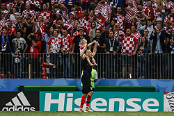 July 11, 2018 - Moscow, Vazio, Russia - Domagoj Vida of Croatia celebrate qualifying after match between England and Croatia valid for the semi final of the 2018 World Cup, held at the Lujniki Stadium in Moscow in Russia..Croatia wins 2-1. (Credit Image: © Thiago Bernardes/Pacific Press via ZUMA Wire)