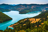 View over a large lake with blue water