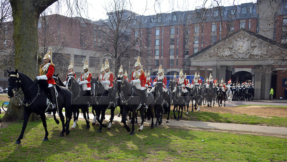 © Licensed to London News Pictures. 20/03/2014. London, UK. The Major General's Inspection of the Household Cavalry Mounted Regiment in Hyde Park today 20th March 2014. The unit must pass the inspection in order to participate in state ceremonial events in 2014. Photo credit : Russ Nolan/LNP