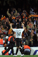 Photo: Paul Thomas.<br /> Chelsea v Valencia. UEFA Champions League. Quarter Final, 1st Leg. 04/04/2007.<br /> <br /> Valencia's Roberto Ayala gives his fans the thumbs up after their away draw.