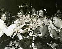 August 29, 1942 Juanita Stark, Virginia Fields & Jane Wyman and soldiers at Ciro's for a Hollywood Canteen fundraiser