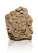 Hittite relief sculpted orthostat stone panel of Long Wall Limestone, Karkamıs, (Kargamıs), Carchemish (Karkemish), 900 - 700 B.C. Anatolian Civilizations Museum, Ankara, Turkey. The short-skirted figure with a dagger at the waist holds the gazelle from its hind legs.<br /> <br /> On a White Background. .<br />  <br /> If you prefer to buy from our ALAMY STOCK LIBRARY page at https://www.alamy.com/portfolio/paul-williams-funkystock/hittite-art-antiquities.html  - Type  Karkamıs in LOWER SEARCH WITHIN GALLERY box. Refine search by adding background colour, place, museum etc.<br /> <br /> Visit our HITTITE PHOTO COLLECTIONS for more photos to download or buy as wall art prints https://funkystock.photoshelter.com/gallery-collection/The-Hittites-Art-Artefacts-Antiquities-Historic-Sites-Pictures-Images-of/C0000NUBSMhSc3Oo
