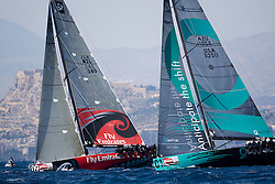 © Sander van der Borch. Alicante - Spain, May 13th 2009. AUDI MEDCUP in Marseille (12/17 May 2009). Race 2,3 and 4. Quantum Racing leading Emirates Team New Zealand in race 3.
