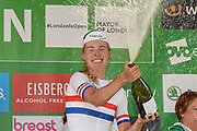 Hannah Barnes (GBR) riding for Canyon/SRAM Racing  celebrates overall third place at the OVO Energy Women's Tour, London Stage, at Regent Street, London, United Kingdom on 11 June 2017. Photo by Martin Cole.
