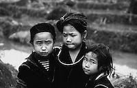 Three young Black Hmong minority girls in northern Vietnam.