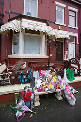 © Licensed to London News Pictures . Blackpool , UK . 04/02/2013 . Tributes and flowers outside the Grafton House Hotel , Kirby Road , Blackpool today (4th February 2013) where Sasha Marsden was found murdered , as David Minto is due before Magistrates , charged with the murder of the 16 year old this morning (4th February 2013) . Photo credit : LNP