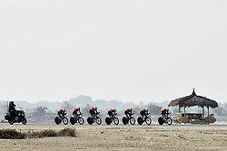 February 24, 2019 - Abu Dhabi, Emirati Arabi Uniti, Emirati Arabi Uniti - Foto LaPresse - Fabio Ferrari.24 Febbraio 2019 Abu Dhabi (Emirati Arabi Uniti).Sport Ciclismo.UAE Tour 2019 - Tappa 1 - Da Al Hudayriat Island a Al.Hudayriat Island - Crono squadre 16 km.Nella foto: BAHRAIN..Photo LaPresse - Fabio Ferrari.February 24, 2019 Abu Dhabi (United Arab Emirates) .Sport Cycling.UAE Tour 2019 - Stage 1 - From Al Hudayriat Island to.Al Hudayriat Island - TTT 9,9 miles.In the pic: BAHRAIN (Credit Image: © Fabio Ferrari/Lapresse via ZUMA Press)