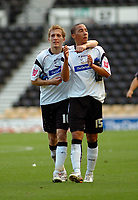 Photo: Kevin Poolman.<br />Derby County v Southend United. Coca Cola Championship. 30/09/2006. Derby's Arturo Lupoli and Ryan Smith celebrate Derby's win over Southend.