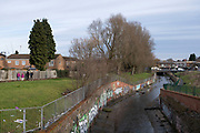 River Rea runs through the inner city housing estate in Balsall Heath on 18th January 2020 in Birmingham, United Kingdom. The River Rea is a small river which passes through Birmingham, England. It is the river on which Birmingham was founded by the Beorma tribe in the 7th century.