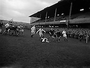 31/01/1959<br /> 01/31/1959<br /> 31 January 1959<br /> Final Irish Rugby International Trial at Lansdowne Road, Dublin.P.J.A. O'Sullivan (Galwegians) on ground, scores the first Whites try despite efforts of P.Kelly in tackling him.