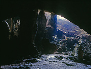 Eerie light illuminating entrance of Slaughter Canyon Cave (New Cave), Carlsbad Caverns National Park, New Mexico.