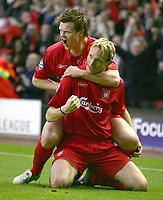 Fotball<br /> Liverpool<br /> Foto: Colorsport/Digitalsport<br /> NORWAY ONLY<br /> <br /> Sami Hyypia (Liverpool) celebrates his and liverpool's 1st goal with John Arne Riise. Liverpool v Juventus. Champions League 1/4 Final. 1st leg @ Anfield. 5/4/2005.