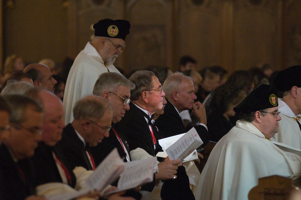 Candidates wait during the Ceremony of Investiture, Sunday Oct. 12 2008. Those Invested included 31 Knights, 29 Ladies, seven Priest Knights, and four Bishop Knights.