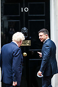 The UK Prime Minister Boris Johnson (L) welcome Ukrainian President Volodymyr Zelenskyy (R) and a Ministerial delegation to Number Ten in Downing Street in London on Thursday, Oct 8, 2020. As part of the visit, Foreign Secretary Dominic Raab will meet Ukrainian Foreign Minister Dmytro Kuleba to reaffirm the UK's support for Ukraine's sovereignty and territorial integrity. (VXP Photo/ Vudi Xhymshiti)