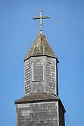 Tower detail of Church of Santa Maria, Chiloe Island, Chile
