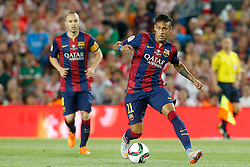 30.05.2015, Camp Nou, Barcelona, ESP, Copa del Rey, Athletic Club Bilbao vs FC Barcelona, Finale, im Bild FC Barcelona's Neymar Santos Jr (r) and Andres Iniesta // during the final match of spanish king's cup between Athletic Club Bilbao and Barcelona FC at Camp Nou in Barcelona, Spain on 2015/05/30. EXPA Pictures © 2015, PhotoCredit: EXPA/ Alterphotos/ Acero<br /> <br /> *****ATTENTION - OUT of ESP, SUI*****