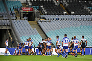 Bulldogs dejected.<br /> North Queensland Cowboys v Canterbury-Bankstown Bulldogs, Round 2 of the Telstra Premiership Rugby League season on Thursday 19th March 2020.<br /> Copyright photo: © NRL Photos 2020