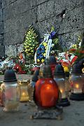 Auschwitz I, Sciana Smierci na dziedzincu pomiedzy blokami nr 10 i 11<br /> Auschwitz I - The Death Wall