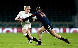 Danielle Waterman of England hands off Caroline Ladagnous of France Women - Mandatory by-line: Robbie Stephenson/JMP - 04/02/2017 - RUGBY - Twickenham - London, England - England v France - Women's Six Nations