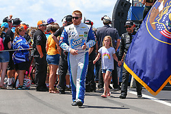 July 29, 2018 - Long Pond, PA, U.S. - LONG POND, PA - JULY 29:  Monster Energy NASCAR Cup Series driver Chris Buescher Scott Products Chevrolet (37) during driver introductions prior to the Monster Energy NASCAR Cup Series - 45th Annual Gander Outdoors 400 on July 29, 2018 at Pocono Raceway in Long Pond, PA. (Photo by Rich Graessle/Icon Sportswire) (Credit Image: © Rich Graessle/Icon SMI via ZUMA Press)