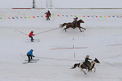 February 23, 2019 - Shakopee, MN, USA - Horses, skiers and snowboarders raced down the Canterbury Park track during Extreme Horse Skijoring in Shakopee, Minn. on Saturday, Feb. 23, 2019. (Credit Image: © Shari L. Gross/Minneapolis Star Tribune/TNS via ZUMA Wire)