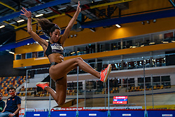 Tara Yoro in action on long jump during limit matches to be held simultaneously with the Dutch Athletics Championships on 13 February 2021 in Apeldoorn