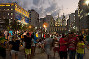 The Olympic pyre. People from all over the World have come down to the Olympic boulevard to enjoy the games at this live site, Praca Maua and Praca XV, Centro Rio de Janeiro, Rio 2016, Brazil.