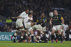 November 12, 2016 - London, England, United Kingdom - George North of England clears the ball late on during Old Mutual Wealth Series between England  and South Africa played at Twickenham Stadium, London, November 12th  2016  (Credit Image: © Kieran Galvin/NurPhoto via ZUMA Press)