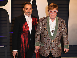 Elton John and David Furnish attending the 2019 Vanity Fair Oscar Party hosted by editor Radhika Jones held at the Wallis Annenberg Center for the Performing Arts on February 24, 2019 in Los Angeles, CA, USA. Photo by David Niviere/ABACAPRESS.COM